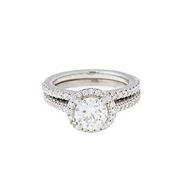 Platinum 1.35 Ct Diamond Engagement and 0.35 Ct Wedding Band Ring Set Size 4