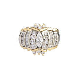 14K Yellow and White Gold 1.35 Ct Diamond Engagement Ring Size 5