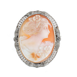 14K White Gold Shell Cameo Filigree Pin Brooch