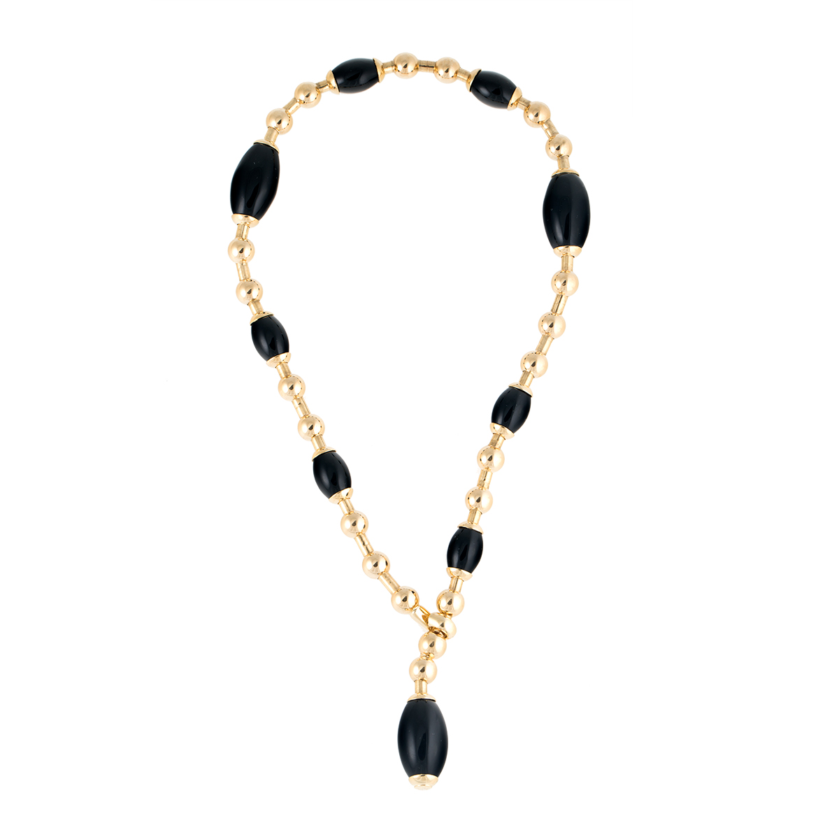"Image of ""Faraone Mennella 18k Yellow Gold and Black Onyx Italian Choker"""