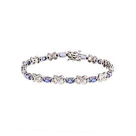 14K White Gold 0.32 Ct Diamond and 1.50 Ct Tanzanite Tennis Bracelet