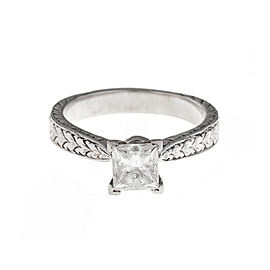 14K White Gold Solitaire 1.00 Ct Diamond Engagement Ring Size 7.5
