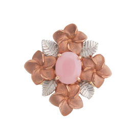 14K Rose and White Gold Pink Opal Flower Ring Size 8.75