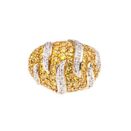 14k Yellow Gold Diamond and Yellow Sapphire Cocktail Ring Size 8