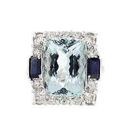 14k White Gold Aquamarine Sapphire and Diamond Ring