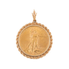 Yellow Gold Twisted Rope Chain Border and Wire Bale $20 Liberty Coin Pendant