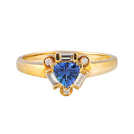 14k Yellow Gold 0.25ct Diamond and Tanzanite Ring Size 9.5