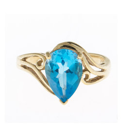 14K Yellow Gold Blue Topaz Ring Size 4.5