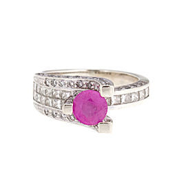 14k White Gold Diamond and Pink Sapphire Ring Size 5.25