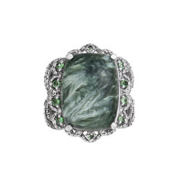 Platinum Seraphinite Cushion and 0.30 Ct Tsavorite Garnet Ring Size 7.5