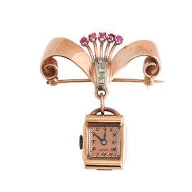 14K Rose Gold Diamond and Ruby Champ Swiss Vintage Watch Pin Brooch