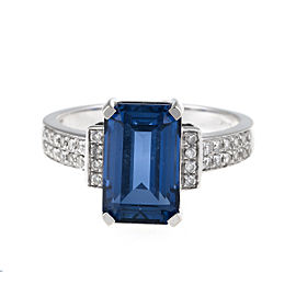 14K White Gold Synthetic Sapphire and Diamond Ring Size 6.5