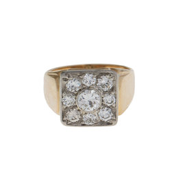 14k Yellow and White Gold Diamond Cluster Ring