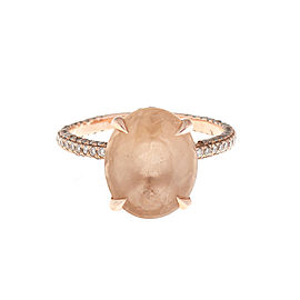 14K Rose Gold Morganite and 1.25 Ct Paved Diamond Ring Size 6