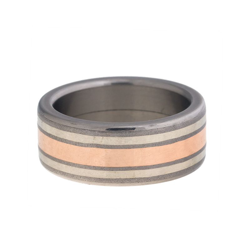 """Image of """"Tungsten, 18K Rose and White Gold Wedding Band Ring Size 8.5"""""""