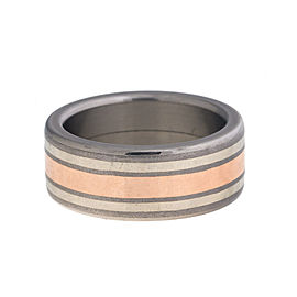 Tungsten, 18K Rose and White Gold Wedding Band Ring Size 8.5