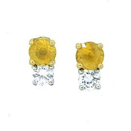 14K White Gold Diamond & Yellow Sapphire Earrings