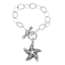 Effy 925 Sterling Silver and 18K Yellow Gold Star Link Chain Bracelet