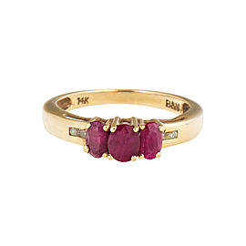14k Yellow Gold Synthetic Ruby and Diamond Ring Size 7