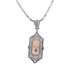 10K White Gold Art Deco Cameo Pendant Necklace