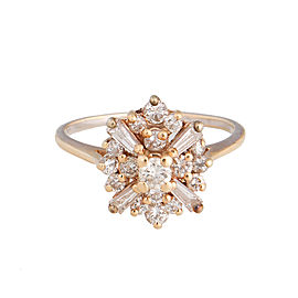 14k Rose Gold Diamond Cluster Ring Size 5.25
