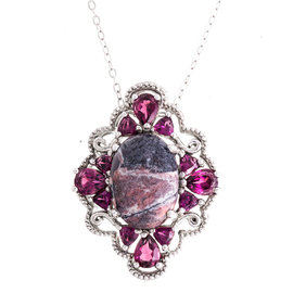 Sterling Silver Jasper and 1.50 Ct Rhodolite Garnet Pendant Necklace
