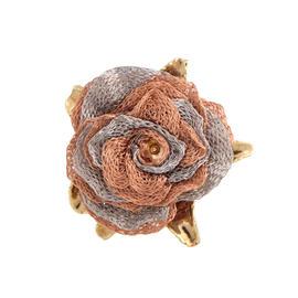 14K Yellow Rose and White Gold Italian Mesh Flower Ring Size 9