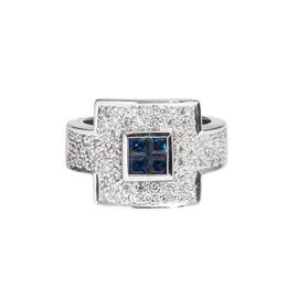 14k White Gold Diamond and Blue Sapphire Cocktail Ring