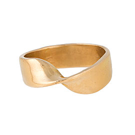 18K Yellow Gold Twisted Band Ring Size 8