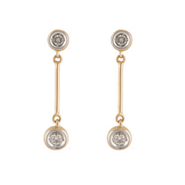 14K Yellow Gold 0.30ct. Diamond Dangle Earrings