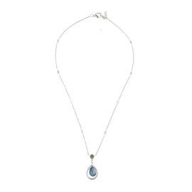 18k White Gold Diamond and Multi-Colored Sapphire Necklace