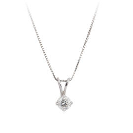 14K White Gold 0.20 Ct Diamond Solitaire Pendant Necklace