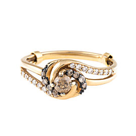14K Yellow Gold Chocolate and White Diamond Ring Size 5.75