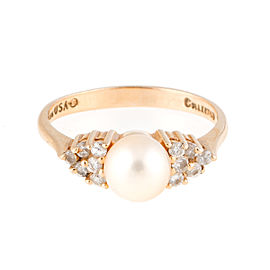 14K Yellow Gold 0.15ct. Diamond and Pearl Ring Size 6.5