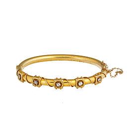 14K Yellow Gold 0.10 Ct Diamond Cuff Bracelet
