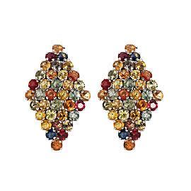 11.35ct Multi Sapphire Silver Earrings
