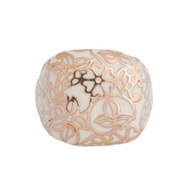 14K Rose Gold Signet Floral Inlay Ring Size 10