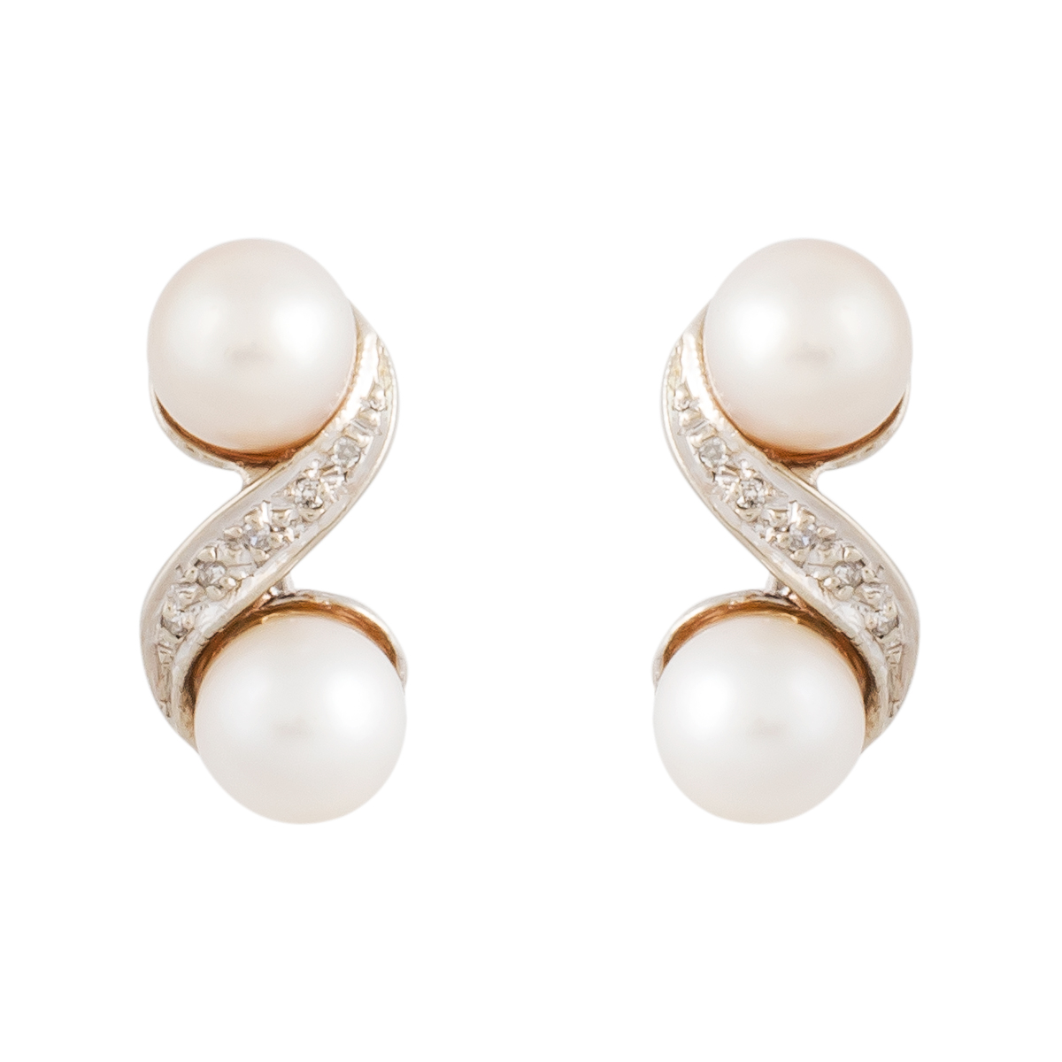 """Image of """"14K White Gold Pearl and Diamond Stud Earrings"""""""