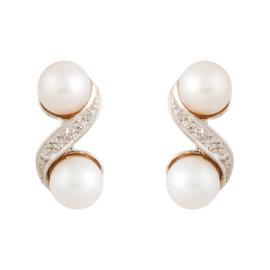 14K White Gold Pearl and Diamond Stud Earrings