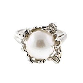 Sterling Silver Pearl Flower Basket Ring