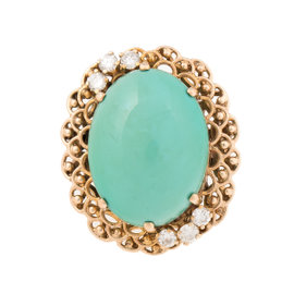 14K Yellow Gold 0.5ct. Diamond and Turquoise Ring Size 6.5