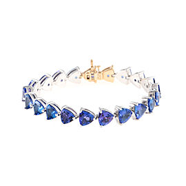 14K Yellow Gold and Sterling Silver Tanzanite Bracelet