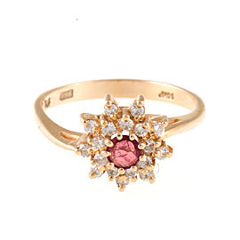 14K Yellow Gold Diamond Cluster and Ruby Ring Size 7