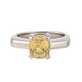 14K White Gold Yellow Sapphire Ring Size 6.75