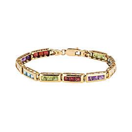 14K Yellow Gold Topaz, Amethyst, and Garnet Tennis Bracelet