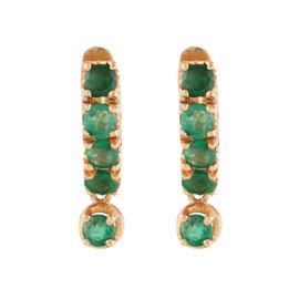 14K Rose Gold Dangle Huggie 1.00ct. Emerald Earrings