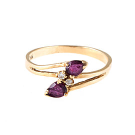 14K Yellow Gold Diamond and Ruby Ring Size 4.5