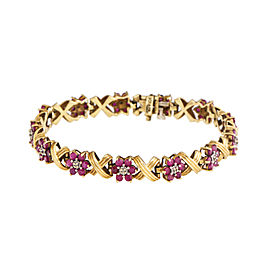 10K Yellow Gold 3.50 Ct Ruby X Bracelet