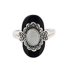 Sterling Silver Onyx and Opal Ring