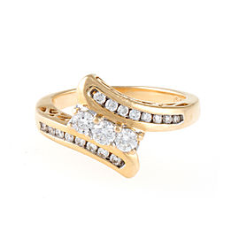 14K Yellow Gold and Diamond Bypass Ring Size 4.75